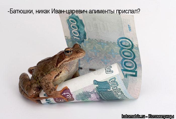 Котоматрица: -Батюшки, никак Иван-царевич алименты прислал?