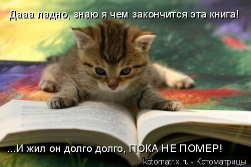 Котоматрица: Дааа ладно, знаю я чем закончится эта книга! ...И жил он долго долго, ПОКА НЕ ПОМЕР!