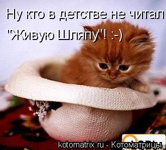 """Котоматрица: Ну кто в детстве не читал """"Живую Шляпу""""! :-)"""