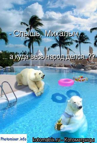 Котоматрица: - Слышь, Михалыч... ... а куда весь народ делся..??