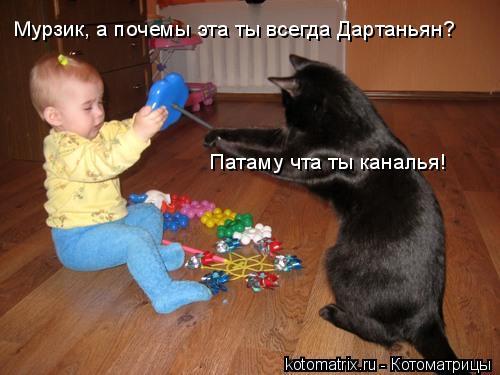 Котоматрица: Мурзик, а почемы эта ты всегда Дартаньян? Патаму чта ты каналья!