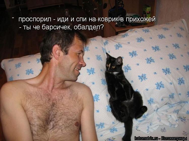 Котоматрица: проспорил - иди и спи на коврик в прихожей - ты че барсичек, обалдел? -