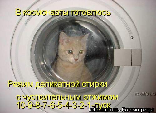 Котоматрица: В космонавты готовлюсь Режим деликатной стирки с чуствительным отжимом 10-9-8-7-6-5-4-3-2-1-пуск