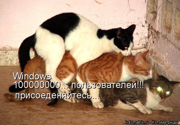 Котоматрица: Windows    100000000... пользователей!!! присоеденяйтесь...