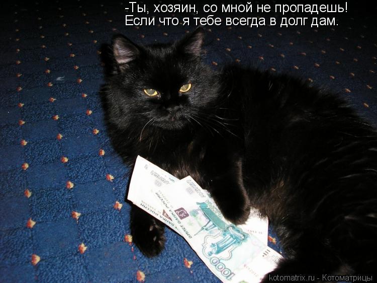 Котоматрица: -Ты, хозяин, со мной не пропадешь! Если что я тебе всегда в долг дам.