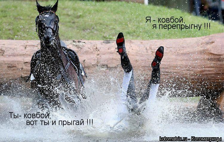 Котоматрица: Я - ковбой,  я перепрыгну !!! Ты- ковбой, вот ты и прыгай !!!