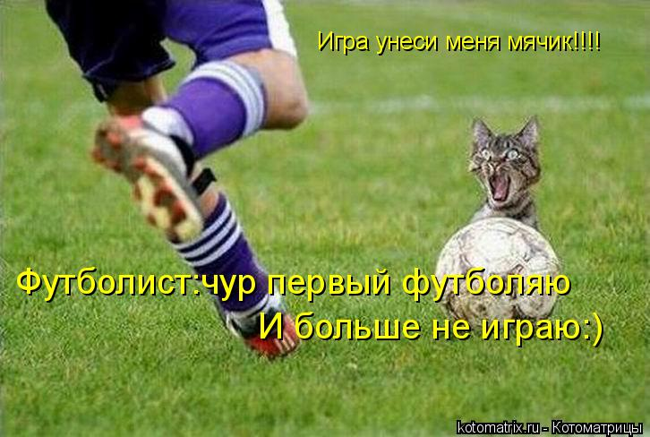Котоматрица: Игра унеси меня мячик!!!! Футболист:чур первый футболяю И больше не играю:)