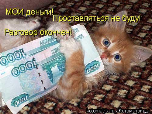 Котоматрица: Проставляться не буду!  МОИ деньги! Разговор окончен!