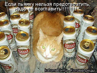 Котоматрица: Если пьянку нельзя предотвратить, надо ее возглавить!!!!!!!!!