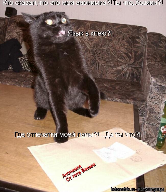 Котоматрица: Кто сказал,что это моя анонимка?!Ты что,Хозяин?! Язык в клею?! Анонимка От кота Васьки Где отпечатки моей лапы?!...Да ты что?!