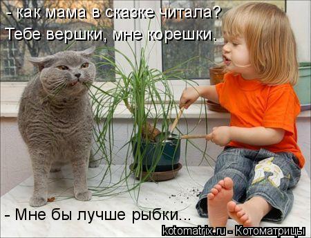 Котоматрица: Тебе вершки, мне корешки. - как мама в сказке читала? - Мне бы лучше рыбки...