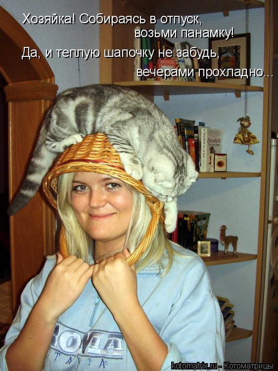 Котоматрица: Хозяйка! Собираясь в отпуск, возьми панамку! Да, и теплую шапочку не забудь, вечерами прохладно...