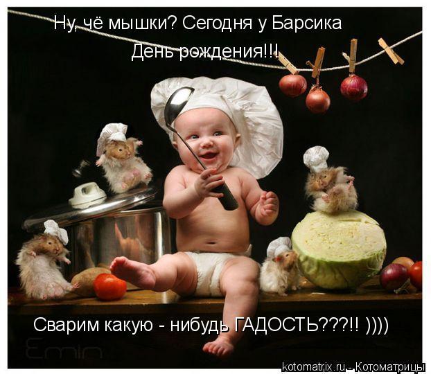 Котоматрица: Ну, чё мышки? Сегодня у Барсика  День рождения!!! Сварим какую - нибудь ГАДОСТЬ???!! ))))
