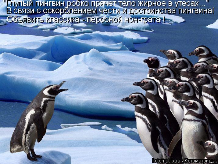 """Котоматрица: """"Глупый пингвин робко прячет тело жирное в утесах..."""" В связи с оскорблением чести и достоинства пингвина! Объявить классика - персоной нон-г"""