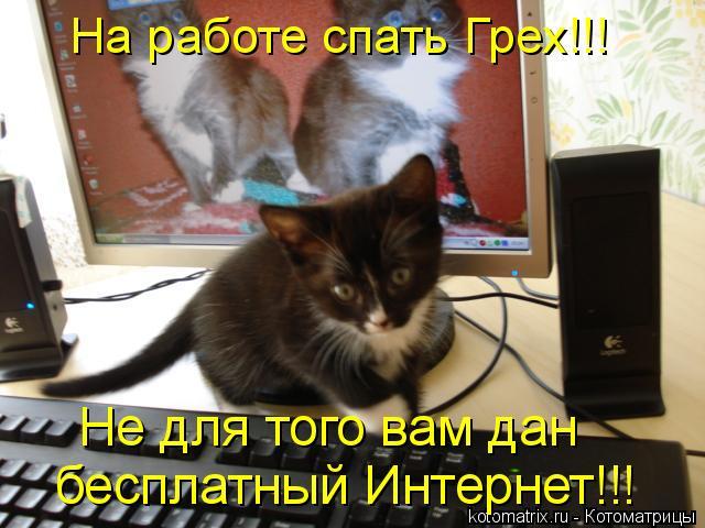 Котоматрица: На работе спать Грех!!! бесплатный Интернет!!! Не для того вам дан