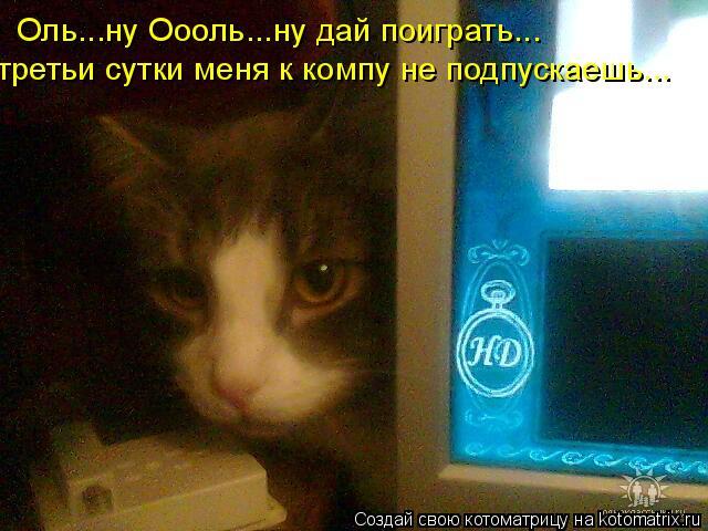 Котоматрица: Оль...ну Оооль...ну дай поиграть... третьи сутки меня к компу не подпускаешь...