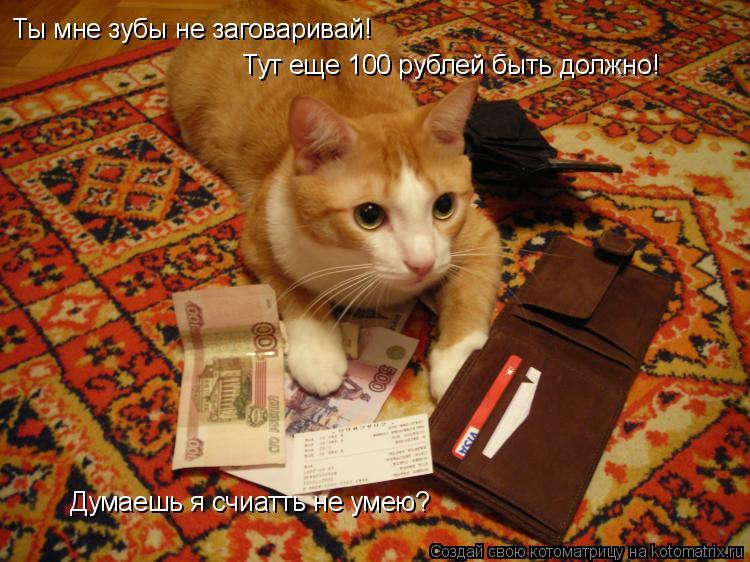 Котоматрица: Ты мне зубы не заговаривай!  Тут еще 100 рублей быть должно!  Думаешь я счиатть не умею?