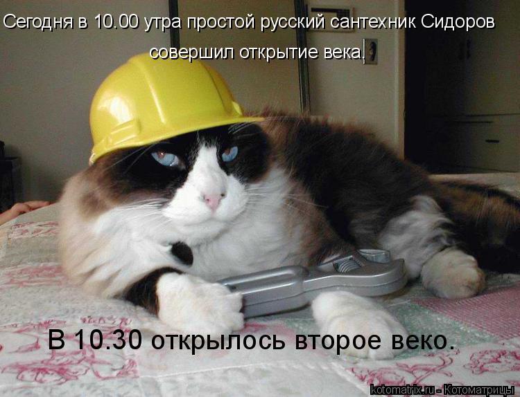 Котоматрица: Сегодня в 10.00 утра простой русский сантехник Сидоров совершил открытие века. В 10.30 открылось второе веко.