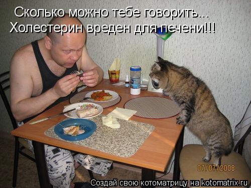 Котоматрица: Сколько можно тебе говорить... Холестерин вреден для печени!!!