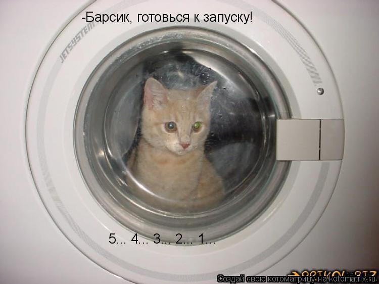 Котоматрица: -Барсик, готовься к запуску! 5... 4... 3... 2... 1...
