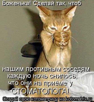 Котоматрица: Боженька! Сделай так, чтоб нашим противным соседям каждую ночь снилось,  что они на приёме у СТОМАТОЛОГА!