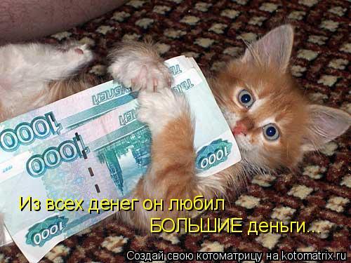 Котоматрица: Из всех денег он любил БОЛЬШИЕ деньги...