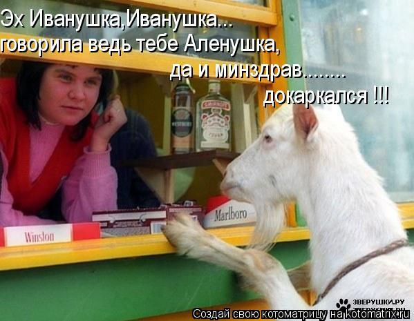 Котоматрица: Эх Иванушка,Иванушка... говорила ведь тебе Аленушка, докаркался !!! да и минздрав........