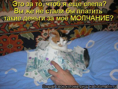 Котоматрица: Это за то, чтоб я еще спела? Вы же не стали бы платить такие деньги за моё МОЛЧАНИЕ?