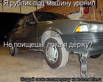 Котоматрица: Я рублик под машину уронил Не поищешь, пока я держу?