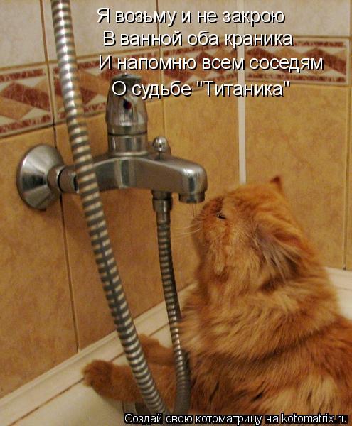 """Котоматрица: Я возьму и не закрою В ванной оба краника И напомню всем соседям  О судьбе """"Титаника"""""""