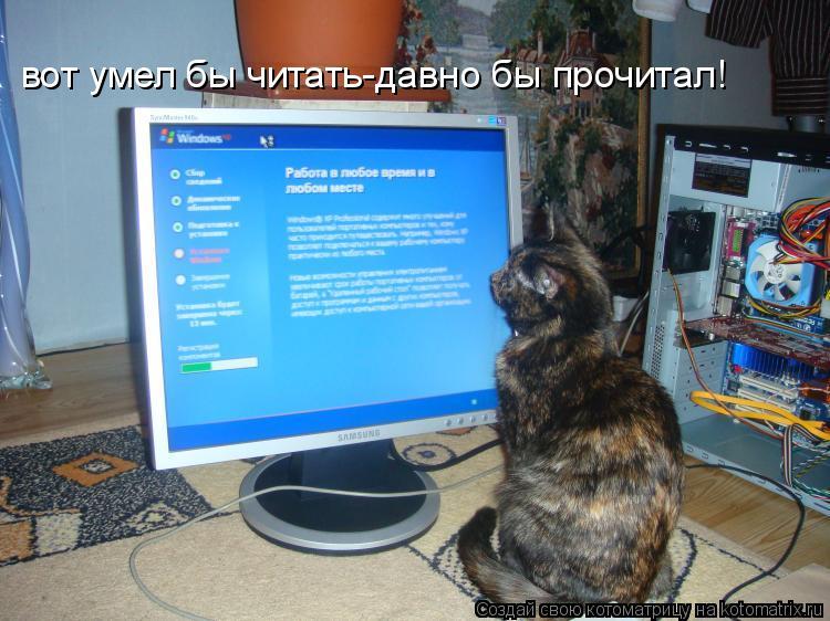 Котоматрица: вот умел бы читать-давно бы прочитал!