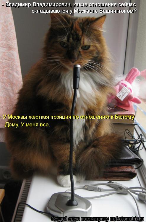 Котоматрица: - Владимир Владимирович, какие отношения сейчас складываются у Москвы с Вашингтоном? - У Москвы жесткая позиция по отношению к Белому Дому.