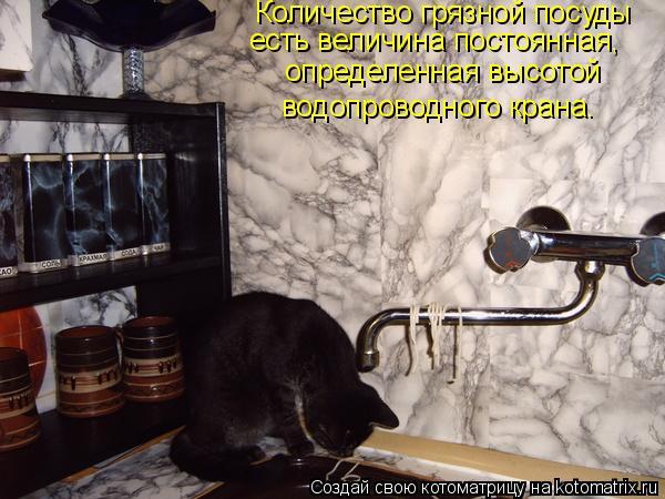 Котоматрица: Количество грязной посуды  есть величина постоянная,  определенная высотой  водопроводного крана.