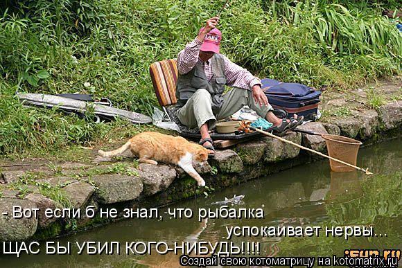 Котоматрица: - Вот если б не знал, что рыбалка успокаивает нервы... ЩАС БЫ УБИЛ КОГО-НИБУДЬ!!!!