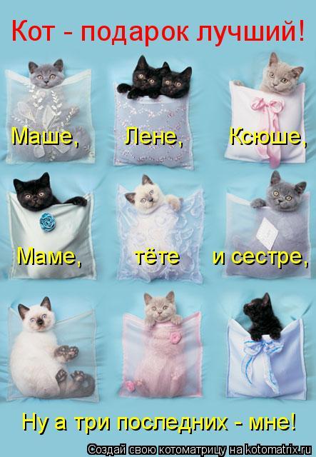 Котоматрица: Кот - подарок лучший! Маше,       Лене,       Ксюше, Маме,        тёте     и сестре, Ну а три последних - мне!