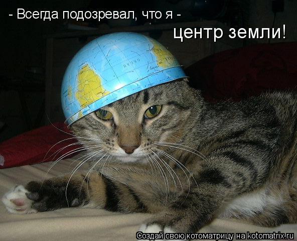 Котоматрица: - Всегда подозревал, что я - центр земли!