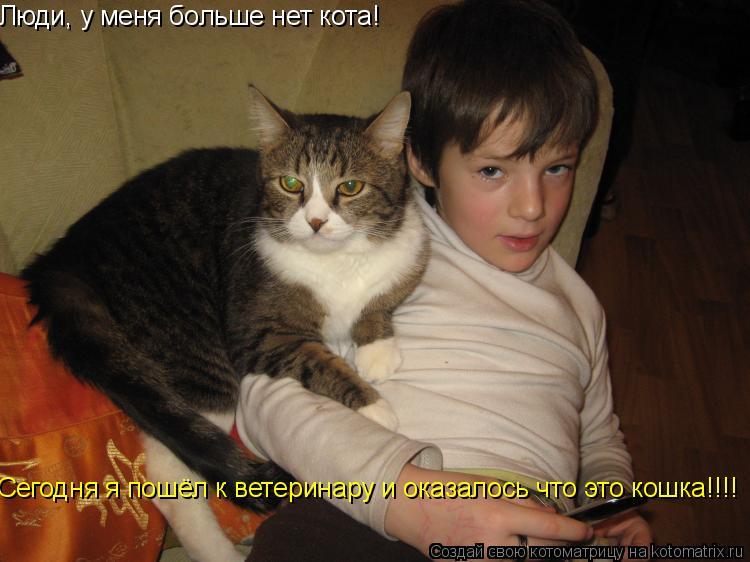 Котоматрица: Люди, у меня больше нет кота! Сегодня я пошёл к ветеринару и оказалось что это кошка!!!!