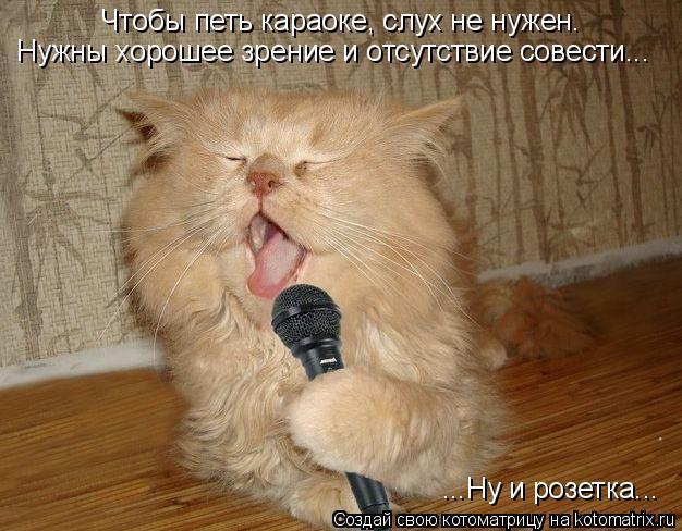 Котоматрица: Чтобы петь караоке, слух не нужен. Нужны хорошее зрение и отсутствие совести... ...Ну и розетка...