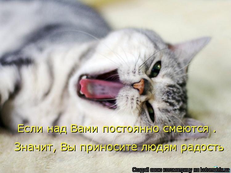 Котоматрица: Если над Вами постоянно смеются .   Значит, Вы приносите людям радость