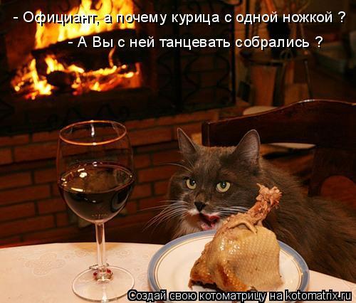 Котоматрица: - Официант, а почему курица с одной ножкой ? - А Вы с ней танцевать собрались ?