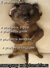 Котоматрица: Я улыбаюсь во сне я улыбаюсь утром,  я улыбаюсь днем,  я улыбаюсь звездам,  я улыбаюсь сердцем !