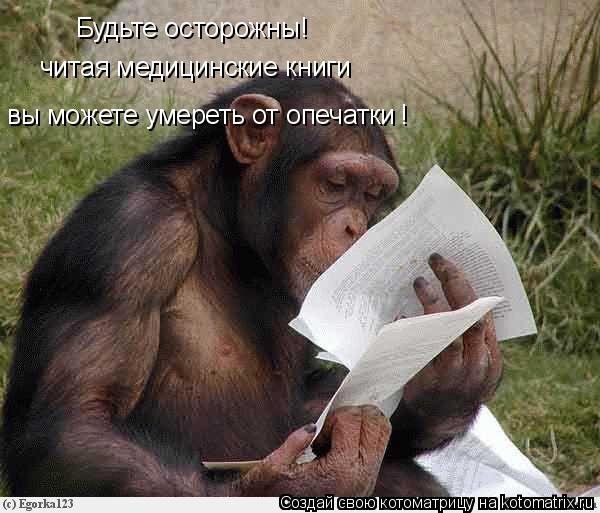 Котоматрица: Будьте осторожны! читая медицинские книги  вы можете умереть от опечатки !