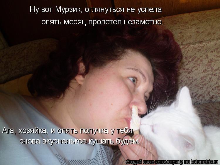Котоматрица: Ну вот Мурзик, оглянуться не успела опять месяц пролетел незаметно. Ага, хозяйка, и опять получка у тебя снова вкусненькое кушать будем.