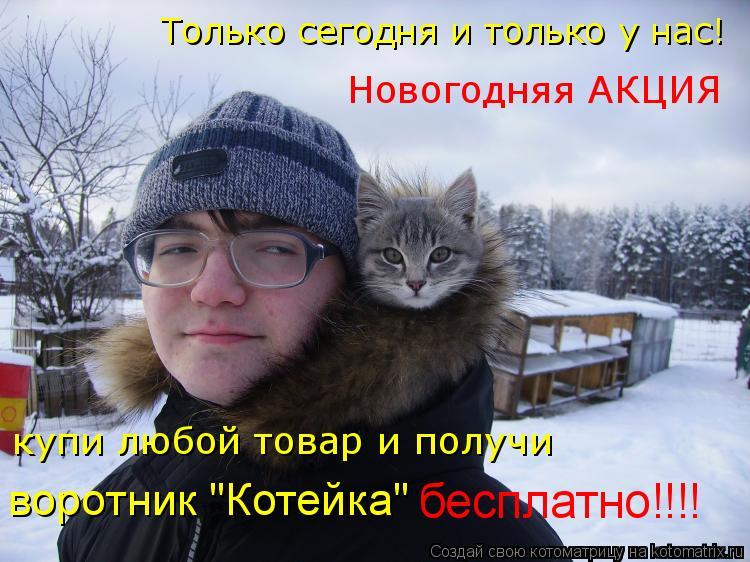 """Котоматрица: Только сегодня и только у нас! Новогодняя АКЦИЯ купи любой товар и получи воротник """"Котейка"""" бесплатно!!!!"""