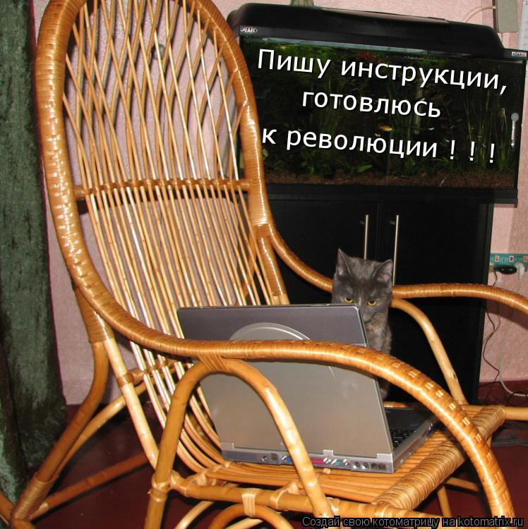 Котоматрица: Пишу инструкции,  готовлюсь к революции ! ! !