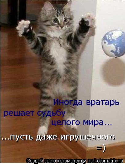Котоматрица: Иногда вратарь  решает судьбу целого мира... ...пусть даже игрушечного =)