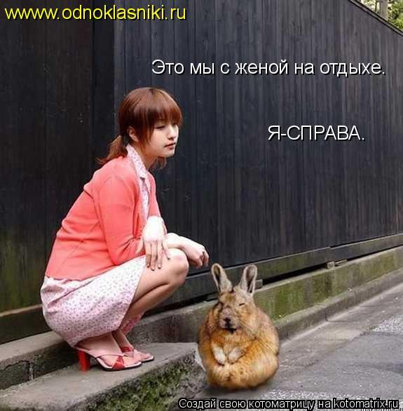 Котоматрица: Это мы с женой на отдыхе. Я-СПРАВА. wwww.odnoklasniki.ru