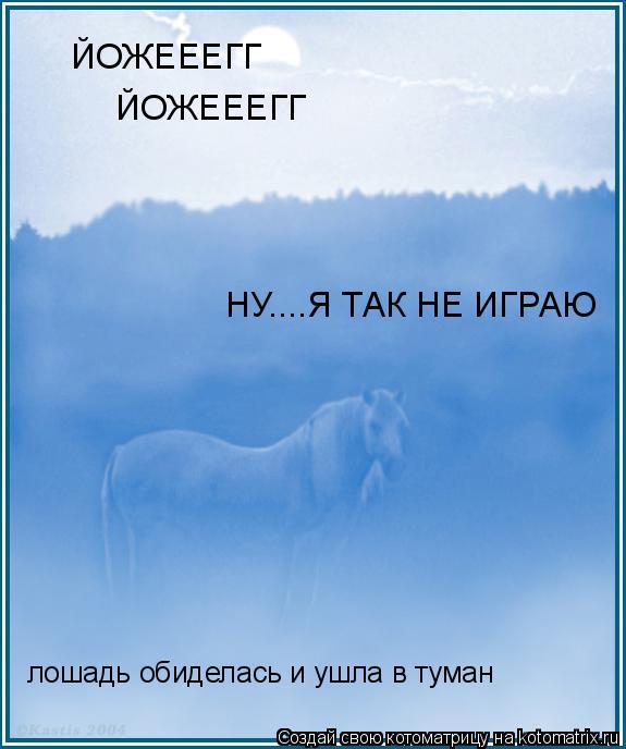 Котоматрица: ЙОЖЕЕЕГГ ЙОЖЕЕЕГГ НУ....Я ТАК НЕ ИГРАЮ лошадь обиделась и ушла в туман
