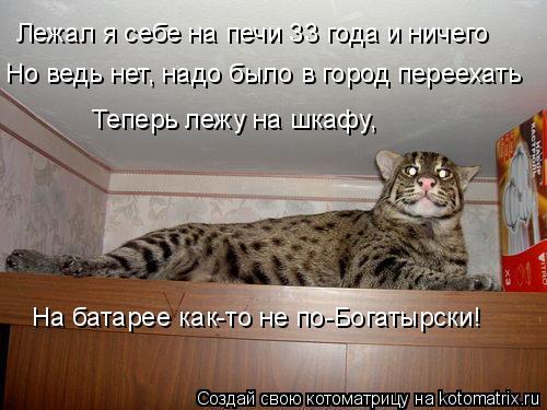 Котоматрица: Лежал я себе на печи 33 года и ничего Но ведь нет, надо было в город переехать Теперь лежу на шкафу, На батарее как-то не по-Богатырски!