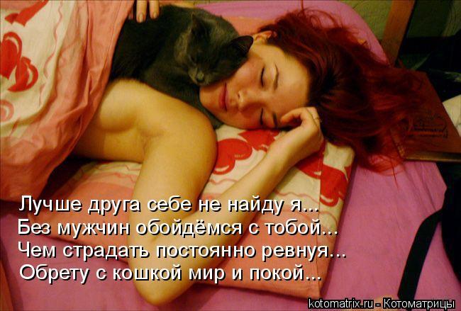 Котоматрица: Лучше друга себе не найду я... Без мужчин обойдёмся с тобой... Чем страдать постоянно ревнуя... Обрету с кошкой мир и покой...